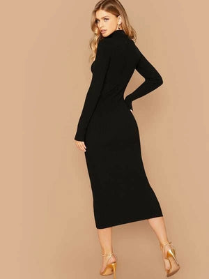 Tara Rib Knit Bodycon Pencil Dress - Huzsy