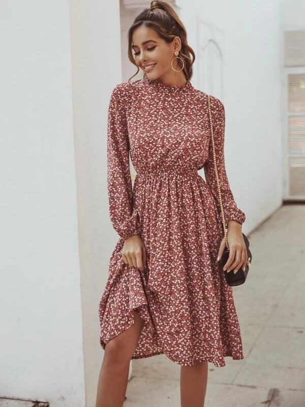 Elenia Ditsy Floral Dress - Huzsy