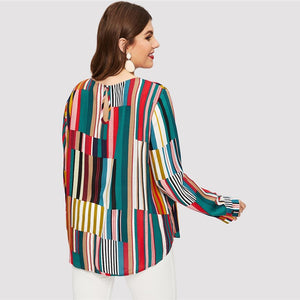 Plus Langley Stripe Blouse - Huzsy