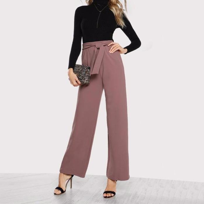 High Waist Flare Pants with Tie Waist - Huzsy