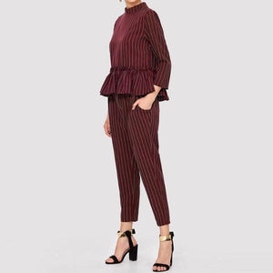 Sonya Co-ord Set - Burgundy - Huzsy