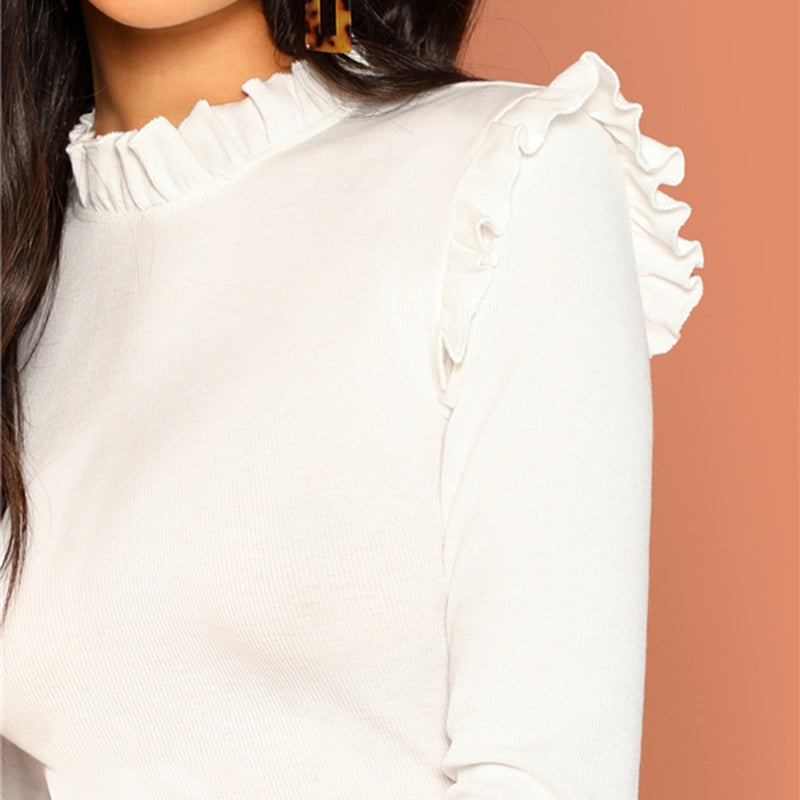 Polly Frill Trim Blouse - Huzsy