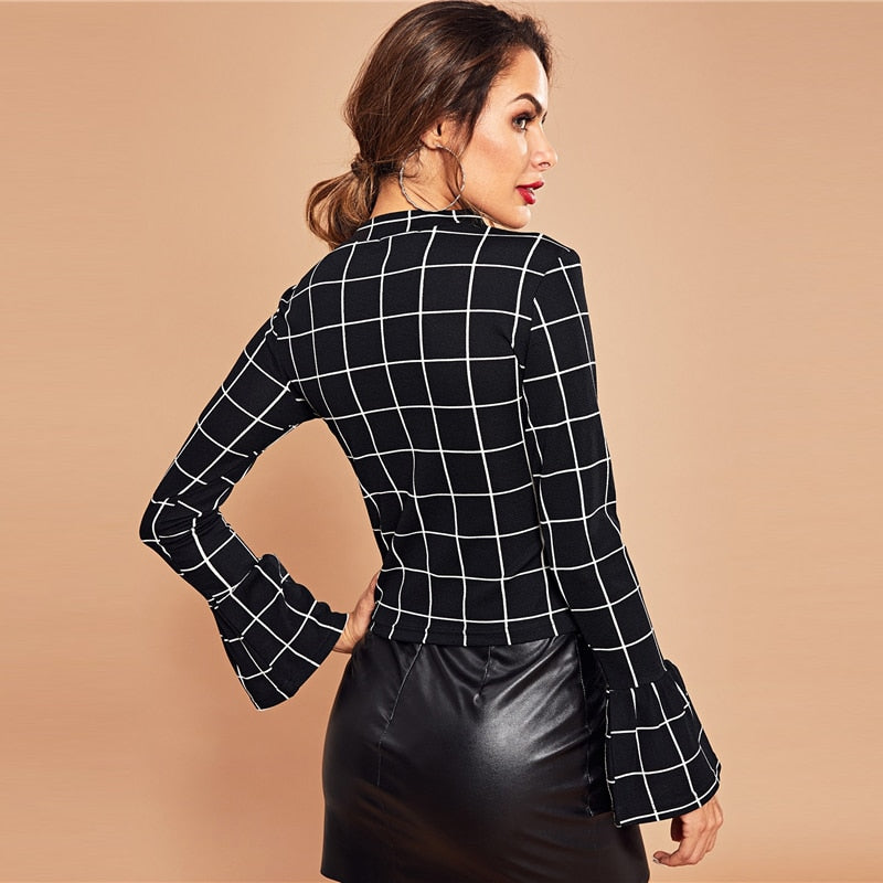 Phila Grid Blouse - Huzsy