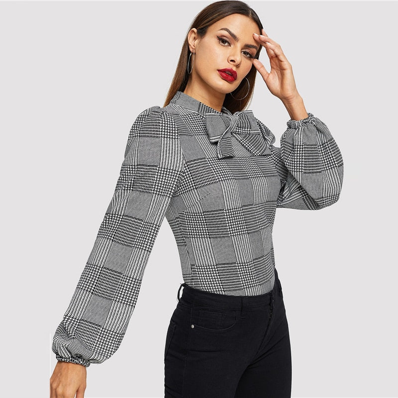 Meara Plaid Bow Blouse - Huzsy