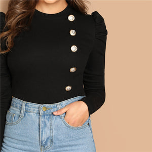 Lori Button Front Top - Huzsy