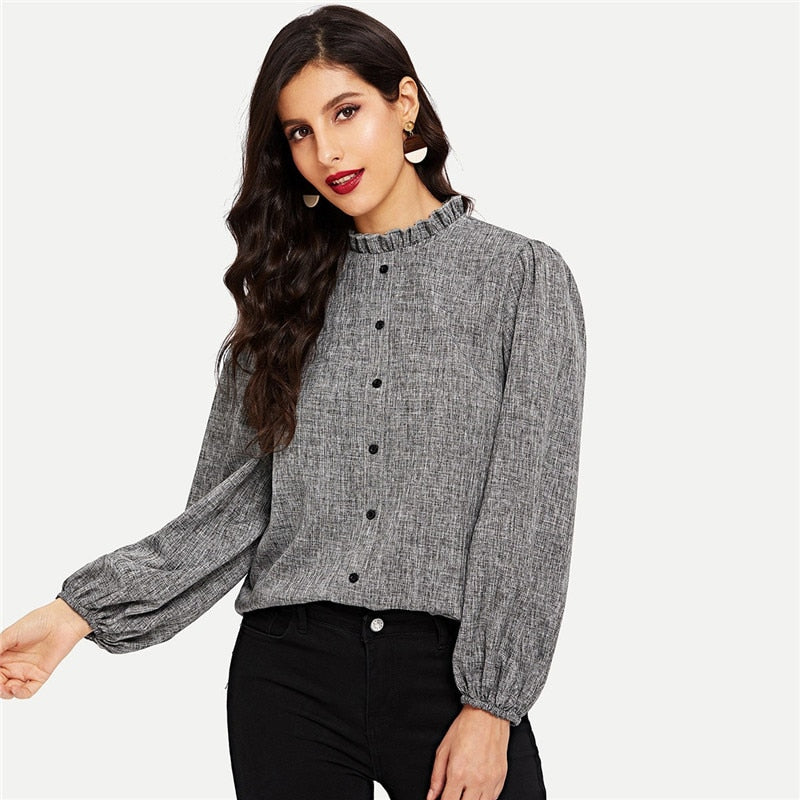 Sharon Frill Collar Blouse - Huzsy
