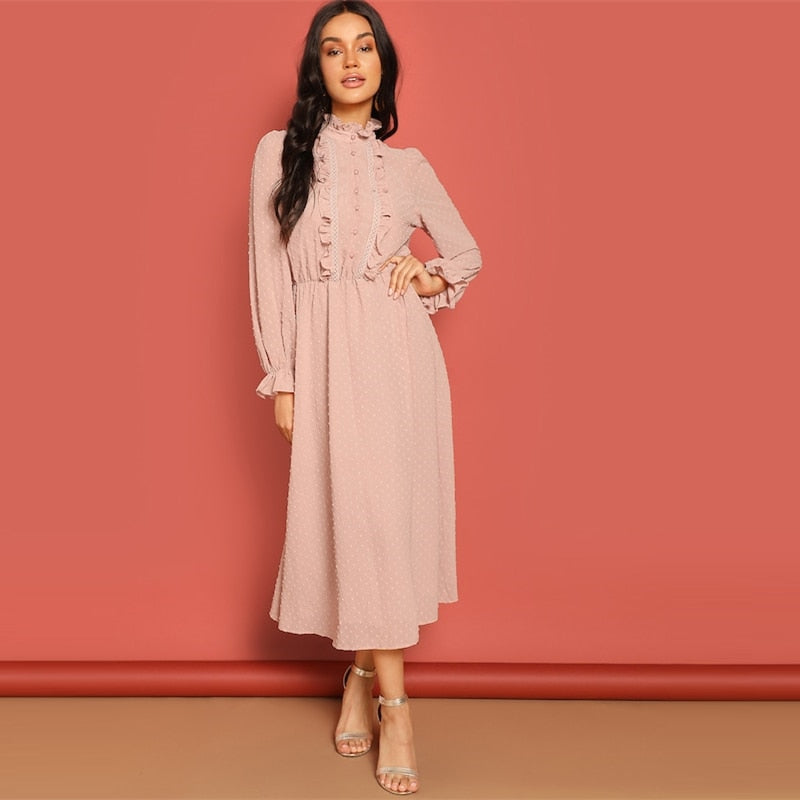 Taya Lace Trim Dress - Huzsy