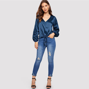 Megan Satin Blouse - Huzsy