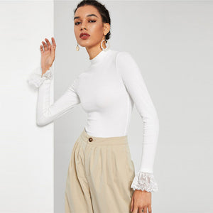 Adina Lace Cuff Top - Huzsy