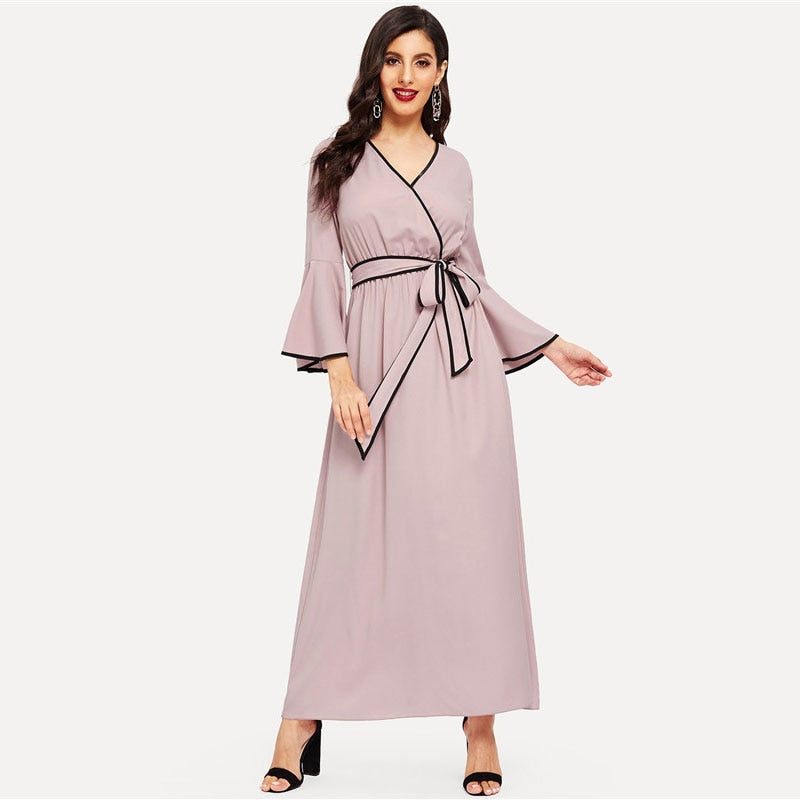 Ethel Contrast Trim Maxi Dress - Huzsy