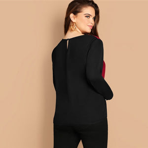 Plus Charmaine Colourblock Blouse - Huzsy