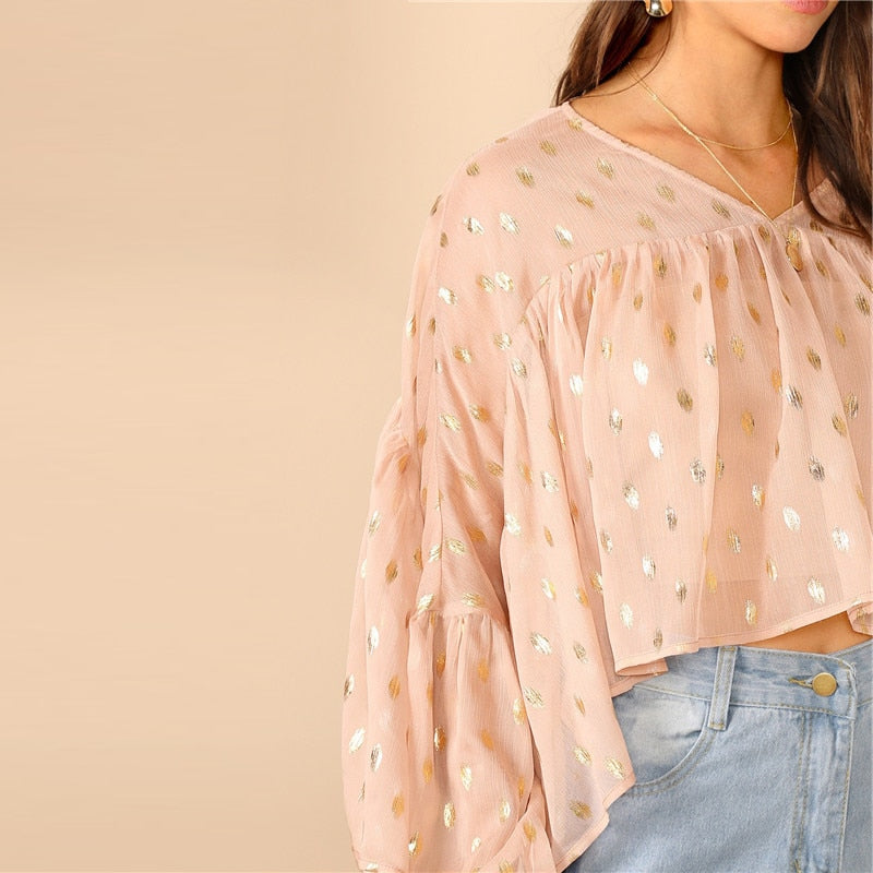 Margot Polka Dot Crop Blouse - Huzsy