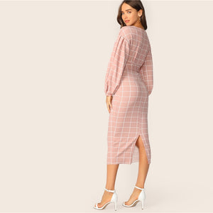 Everly Grid Pencil Dress - Huzsy