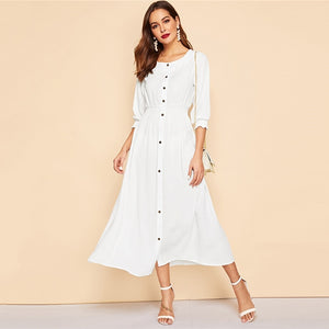 Delilah Button Front Midi Dress - Huzsy
