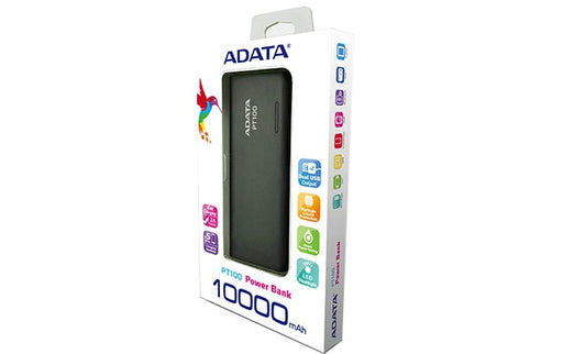Power Bank Adata Pt100 Negro 10000 Mah APT100-10000M-5V-CBKGR