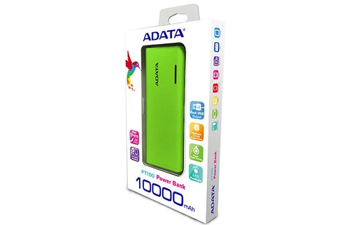 Power Bank Adata Pt100 Verde 10000Mah APT100-10000M-5V-CGRYL