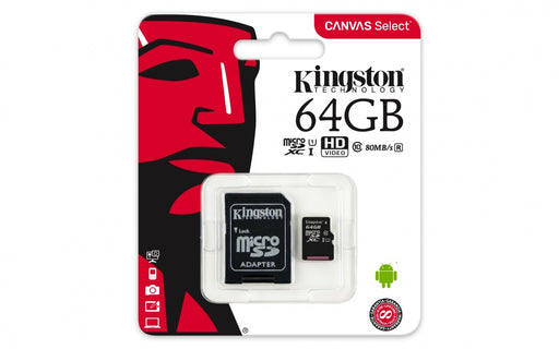 Memoria Micro SD Kingston 64GB Clase 10 Con Adaptador