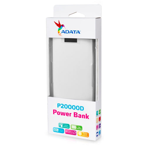 Power Bank Adata P20000d Blanco 20000mah Con Linterna Led