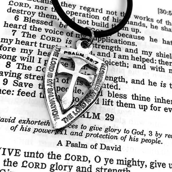 Shield with Cross Pendant Necklace Rhodium Metal Bling Finish