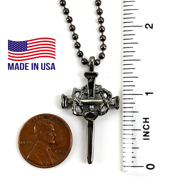 Nail Crown Cross In Gunmetal Finish with Gunmetal Ball Chain Necklace