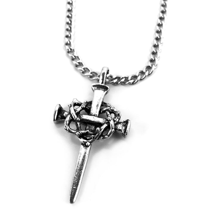 Crown Of Thorns Nail Cross Necklace Silver Finish On Chain