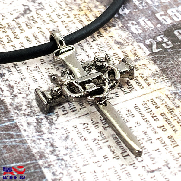 Crown Of Thorns Nail Cross Necklace Gunmetal Finish