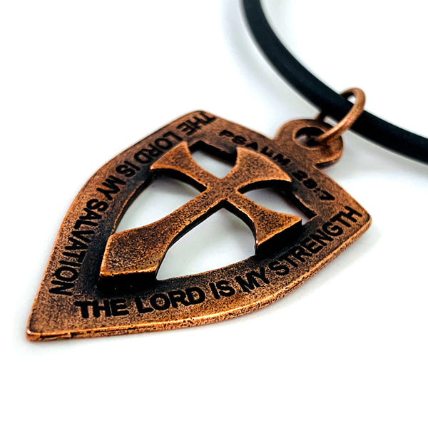 Shield with Cross Pendant Necklace Copper Color Finish