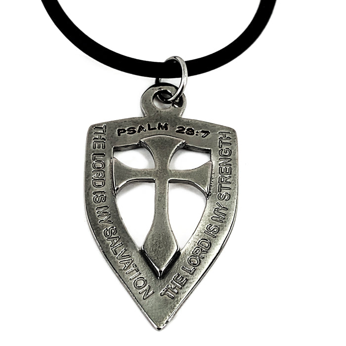 Shield with Cross Pendant Necklace Gunmetal Color Finish