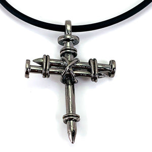 Pewter Nail Cross Necklace Gun Metal