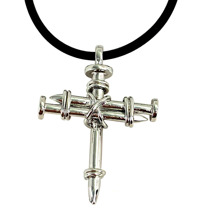 Pewter Nail Cross Necklace Rhodium Bling