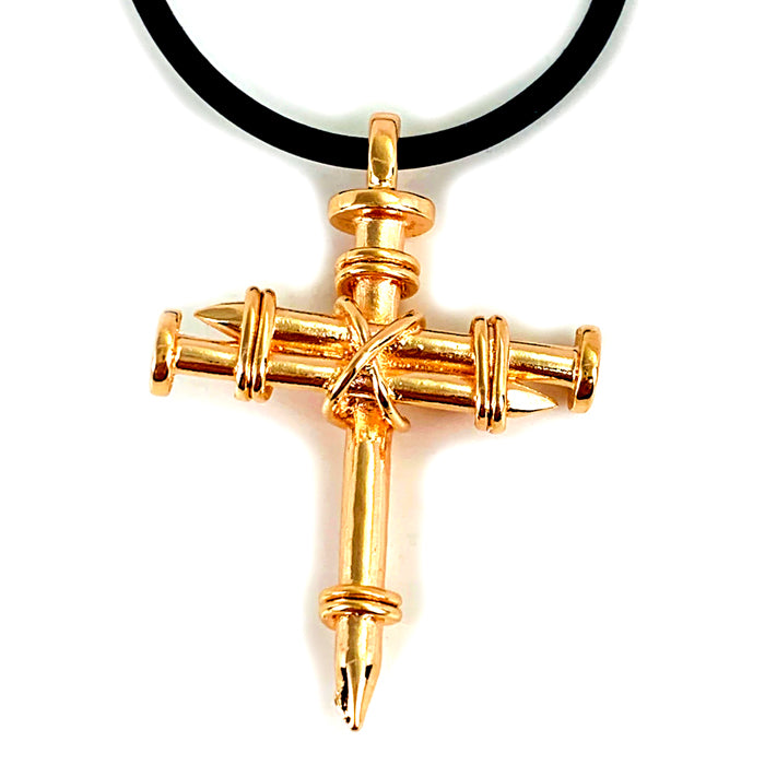 Pewter Nail Cross Necklace Rose Gold