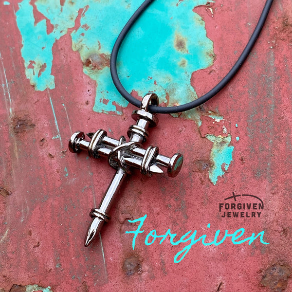 Pewter Nail Cross Necklace Silver