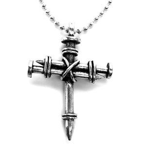 Pewter Nail Cross Necklace