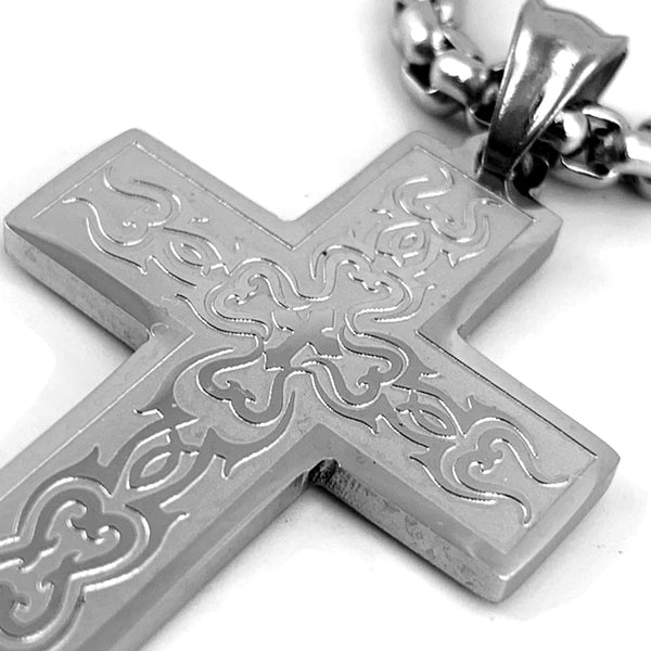 Tribal Cross Fish Heavy Chain Necklace