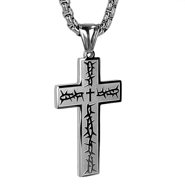 Thorns Cross Heavy Chain Necklace