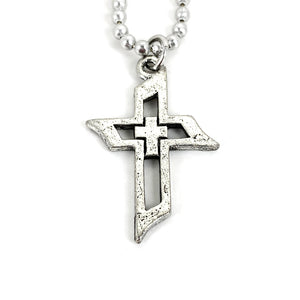 Cross Of Faith Necklace Antique Silver Finish On Ball Chain