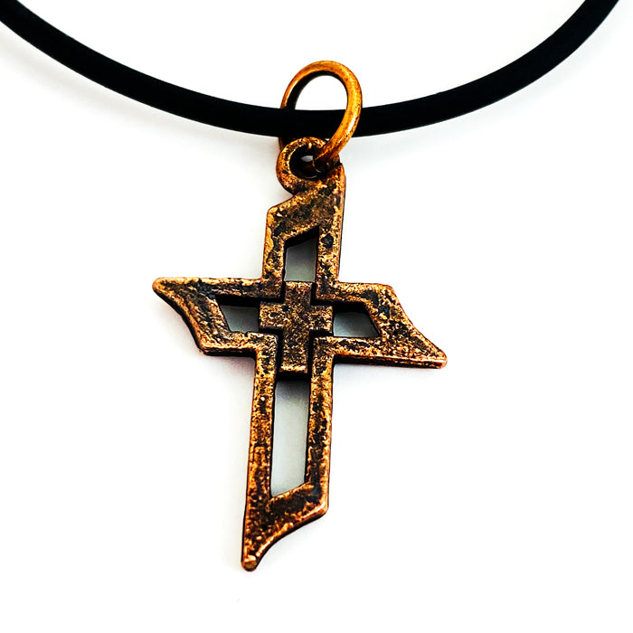 Cross Of Faith Necklace Antique Copper Finish