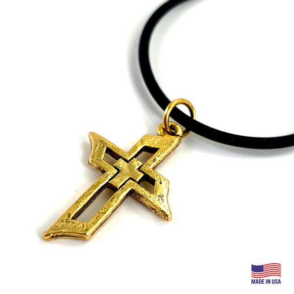Cross Of Faith Necklace Antique Gold Finish