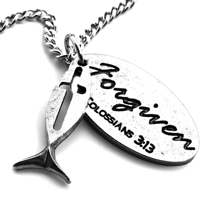 Fish Cross Forgiven Tag On Chain
