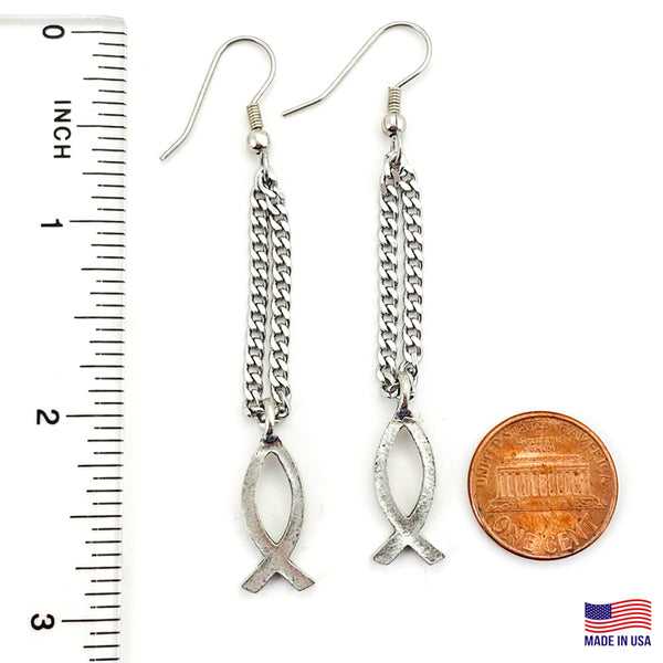 Earrings Jesus Ichthus Small Fish Antique Silver Finish