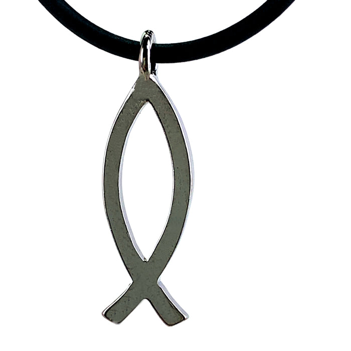 Ichthus Fish Gunmetal Necklace