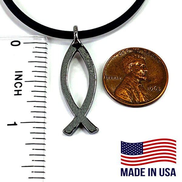 Ichthus Fish Gun Metal Necklace
