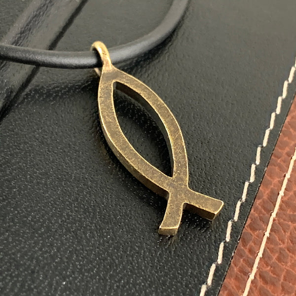Ichthus Fish Brass Necklace