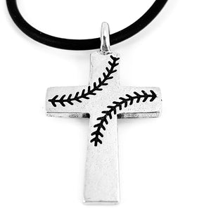 Baseball Stitch Cross Necklace on Black Rubber