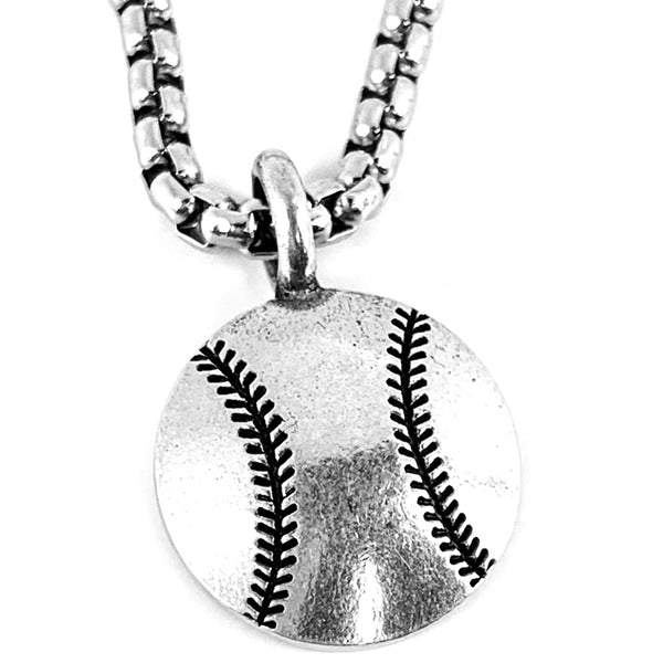 Baseball Necklace On Heavy Box Chain
