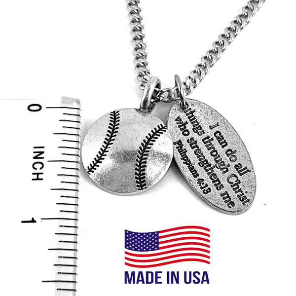 Baseball With Philippians Tag Chain Necklace