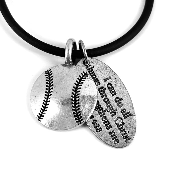 Baseball With Philippians Tag On Black Rubber Necklace