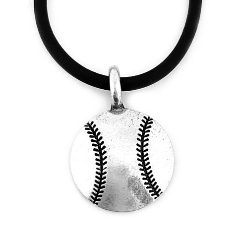 Baseball Necklace On Soft Black Rubber