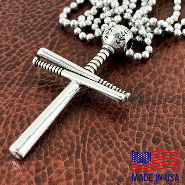Baseball Bat And Ball Cross Necklace Pewter I Can Do All Things