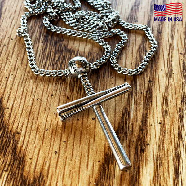 Baseball Bat And Ball Cross On 18 Inch Chain Necklace Pewter I Can Do All Things